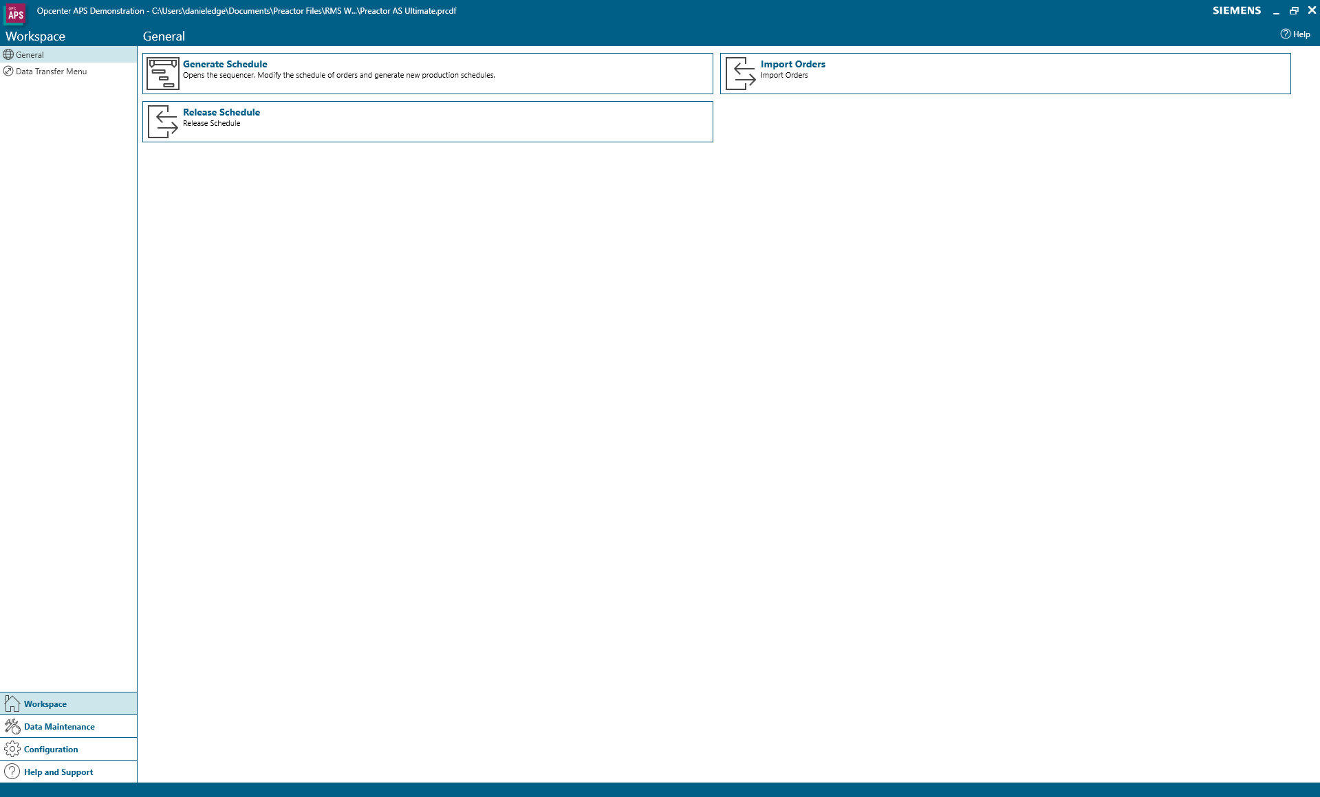 The workspace menu in Opcenter APS
