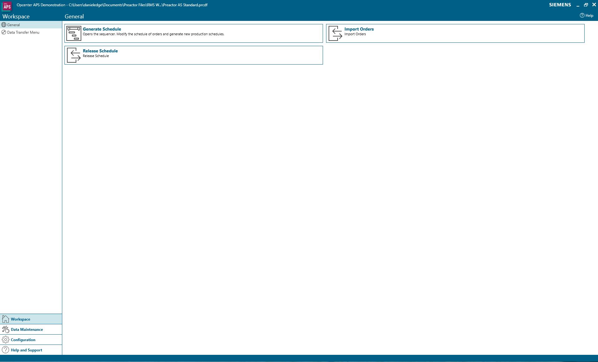 Workspace menu in Opcenter APS